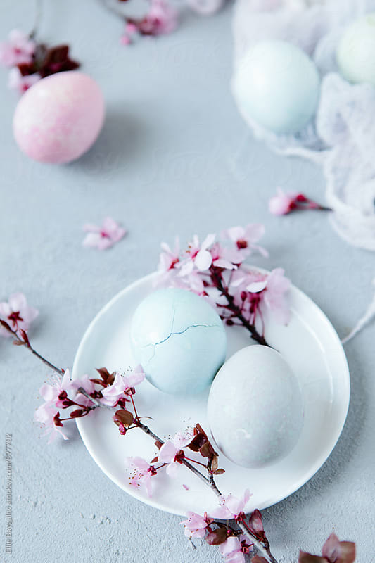 Naturally dyed  Easter eggs by Ellie Baygulov for Stocksy United