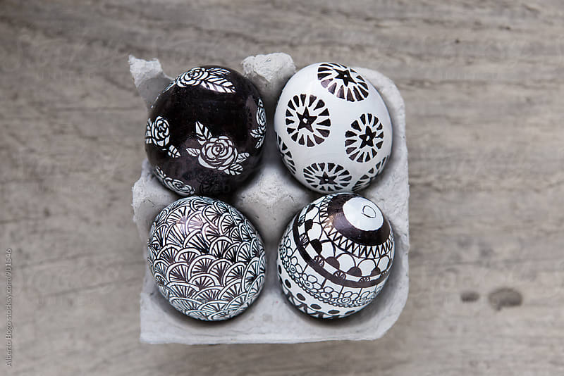 Easter eggs with handmade decoration by Alberto Bogo for Stocksy United