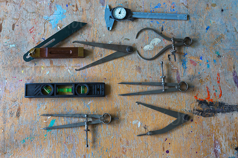Selection of measuring instruments used in a school art and design class by Paul Phillips for Stocksy United