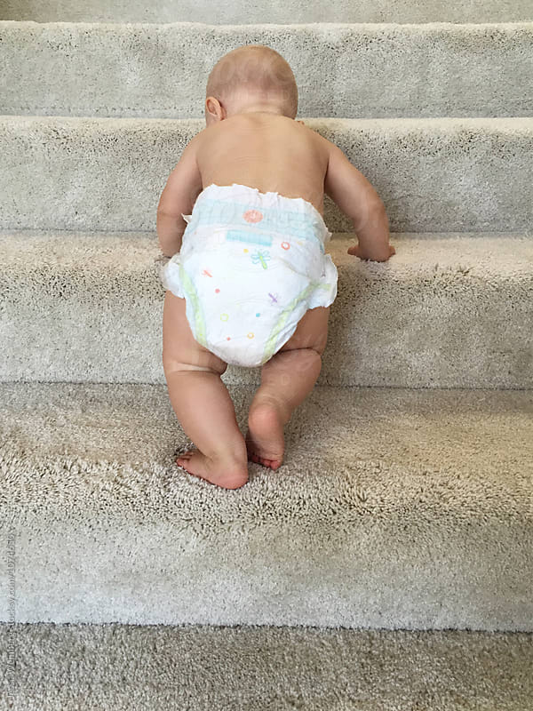 Cute Kid Climbs Stairs by Jesse Weinberg for Stocksy United