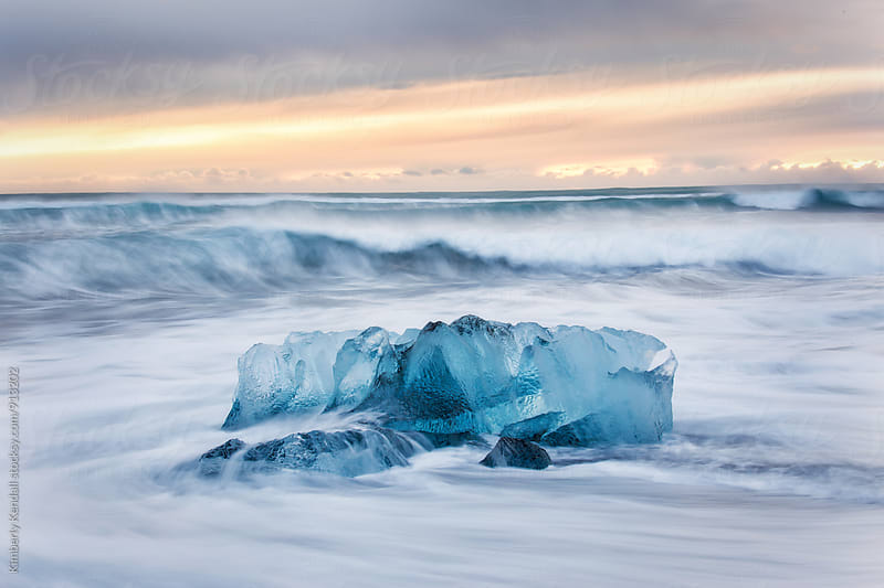 Iceberg on Jokulsarlon Beach by Kimberly Kendall for Stocksy United