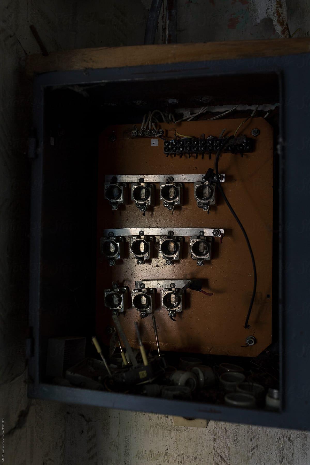 Stock Photo - Old Damaged Fuse Box