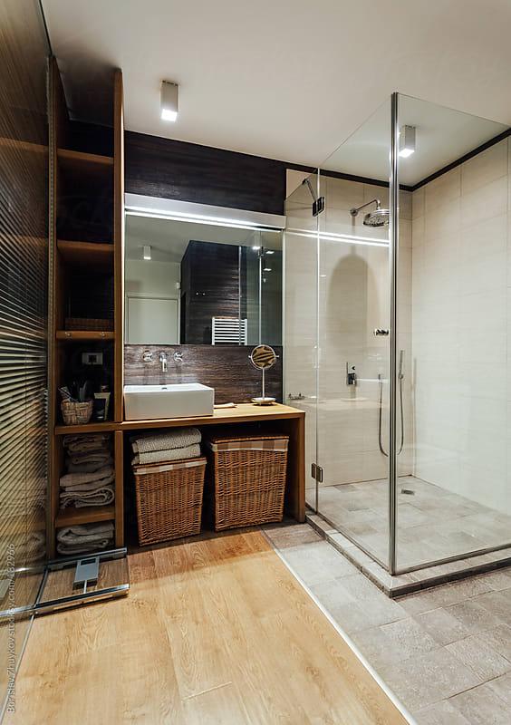 Modern bathroom by Borislav Zhuykov for Stocksy United