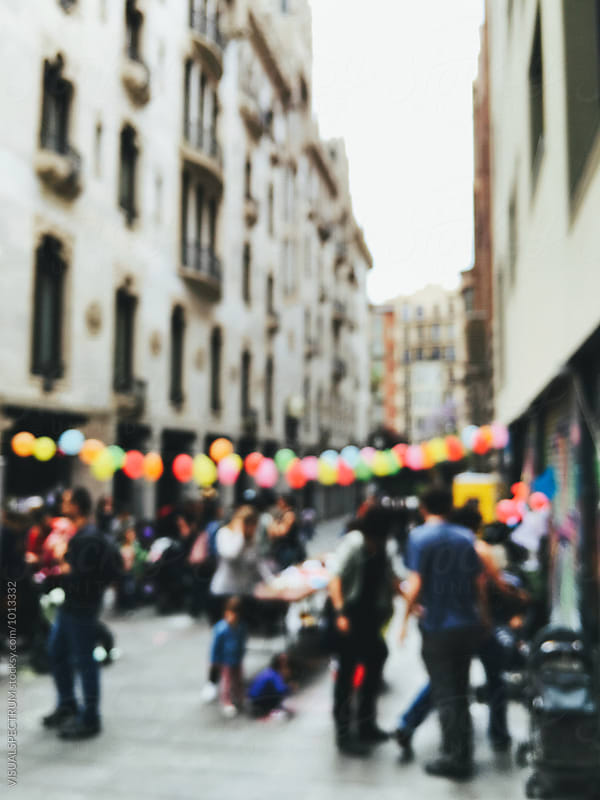 Street Birthday Party Defocused by VISUALSPECTRUM for Stocksy United