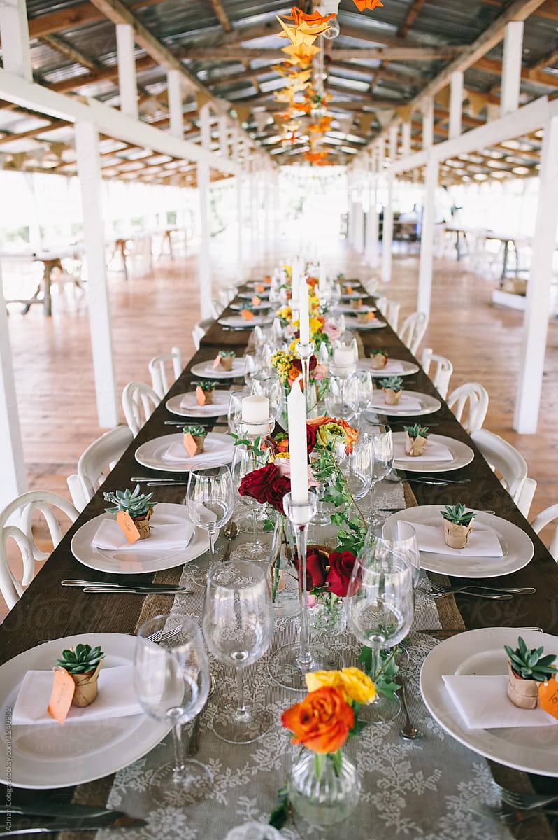 Table Setup Wedding Table Setting Stocksy United
