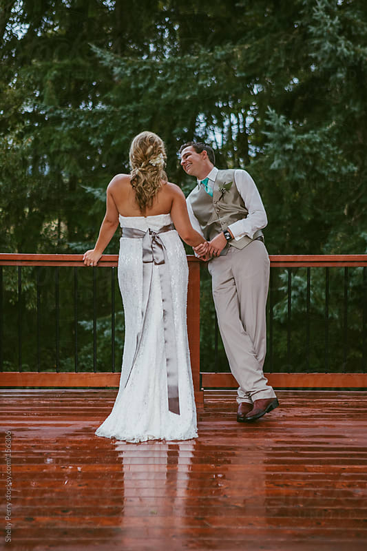 Bride and Groom on Wedding day by Shelly Perry for Stocksy United