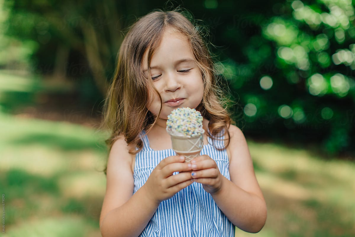 Girl eating ice cream know