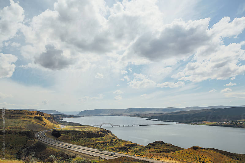 Highway And Bridge Over Columbia River by Luke Mattson for Stocksy United