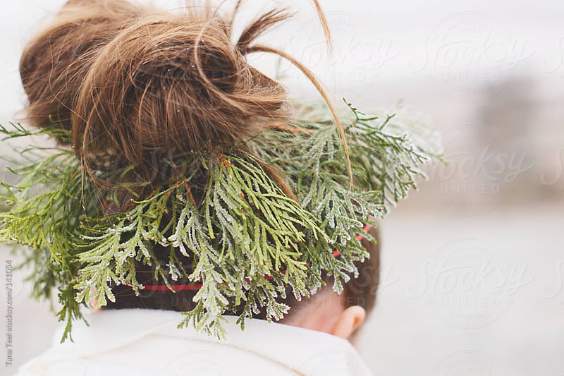 A wreath of frosty evergreen sprigs adorn a hair bun by Tana Teel for Stocksy United