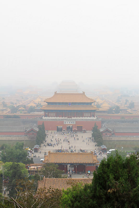 Beijing in haze by zheng long for Stocksy United