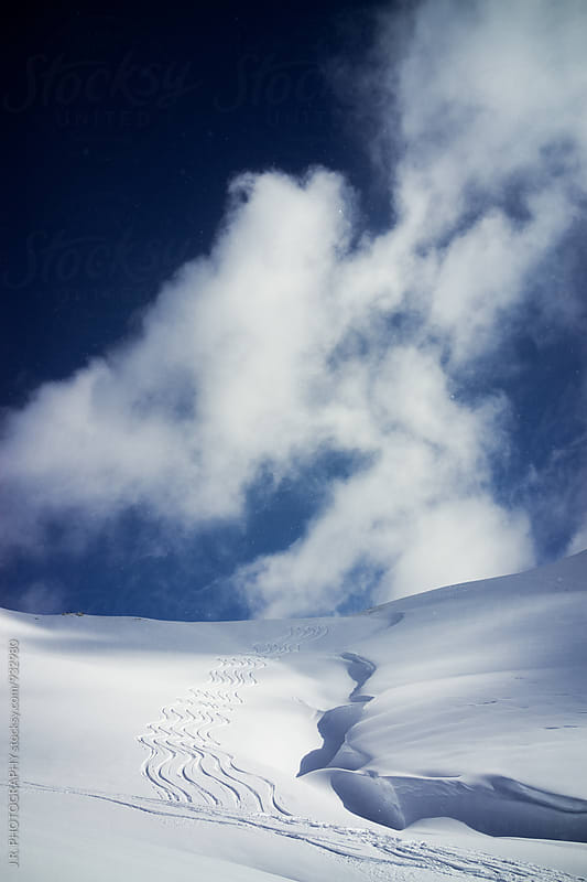 Deep snow skiing. Lech, Austria by J.R. PHOTOGRAPHY for Stocksy United