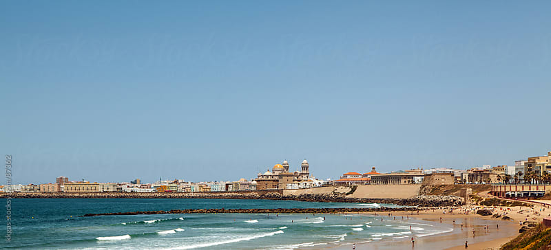 View of the beach and city of Cadiz Spain. by kkgas for Stocksy United