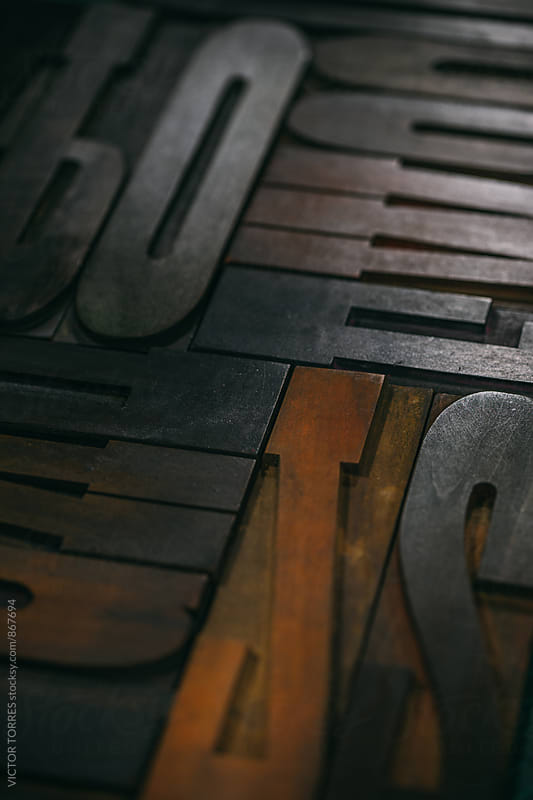 Wood type Letters Background by VICTOR TORRES for Stocksy United