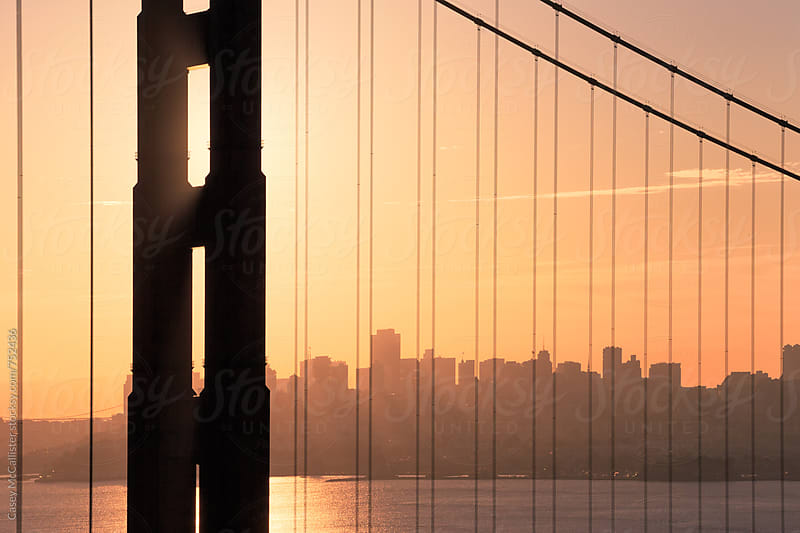 Golden Gate Bridge Sunrise by Casey McCallister for Stocksy United