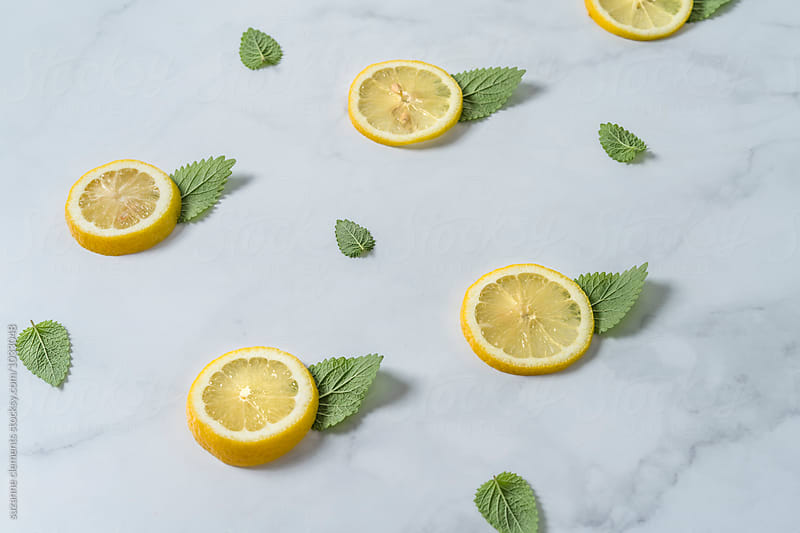 Flavor Pattern With Lemons and Mint Lemonbalm by suzanne clements for Stocksy United
