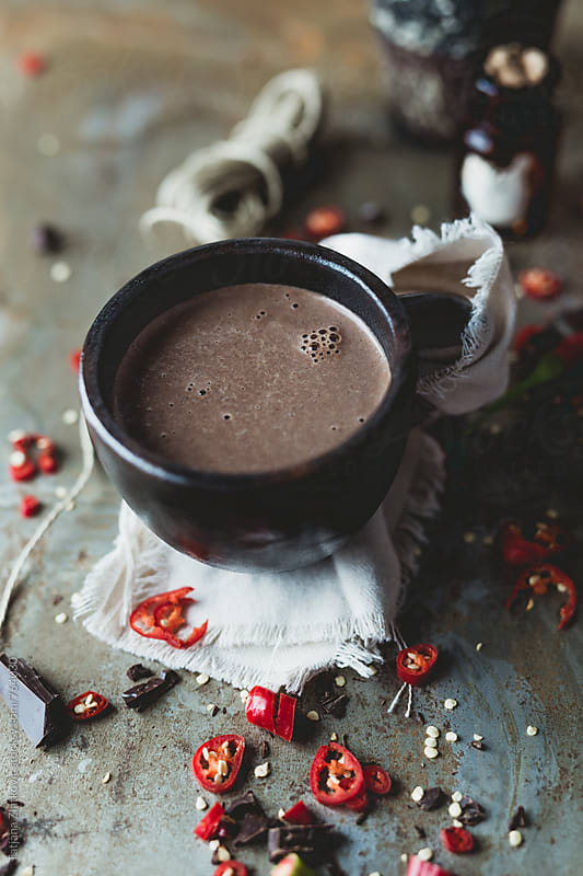 Hot chocolate with chili pepper by Tatjana Ristanic for Stocksy United