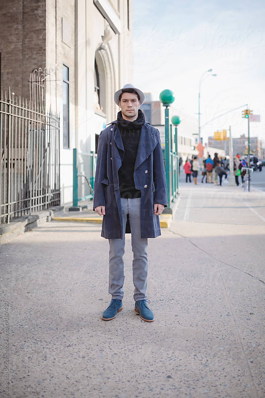 Street Style Male Fashion Photo in New York with Vintage Pirate Coat by Joselito Briones for Stocksy United