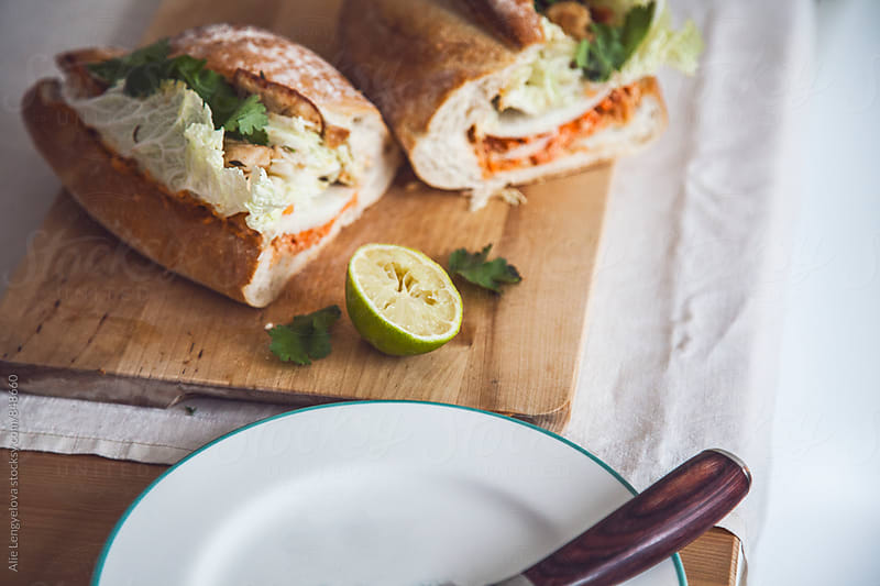 Delicious Baguette with Homemade Nutty Pesto by Alie Lengyelova for Stocksy United