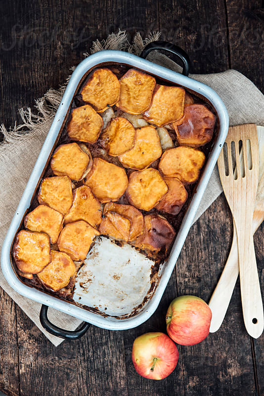 Food: Vegan Carolina Cobbler with Sweet Potato and Apples by Ina Peters for Stocksy United