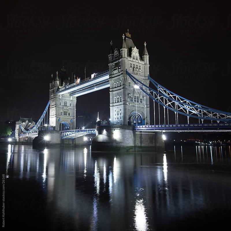 Tower Bridge at night in London, UK by Robert Kohlhuber for Stocksy United