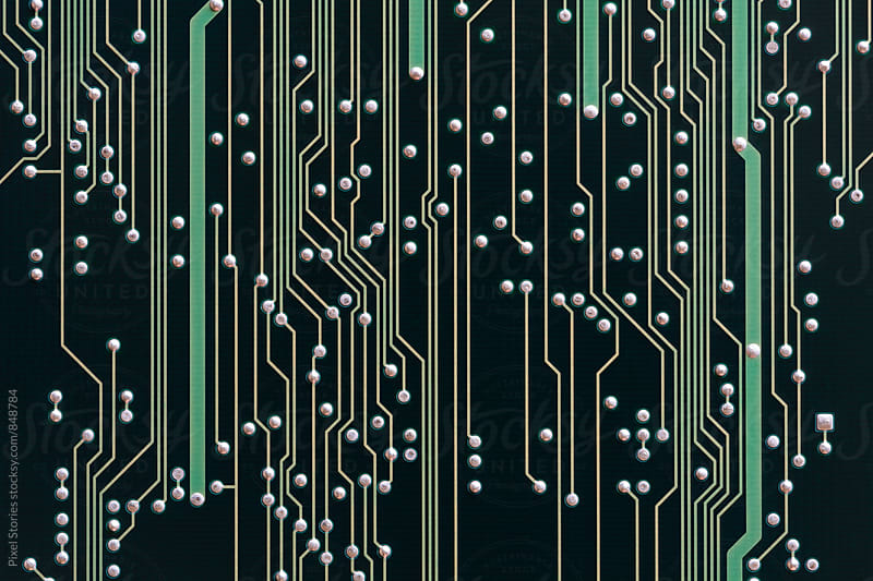 Black printed circuit board background by Pixel Stories for Stocksy United