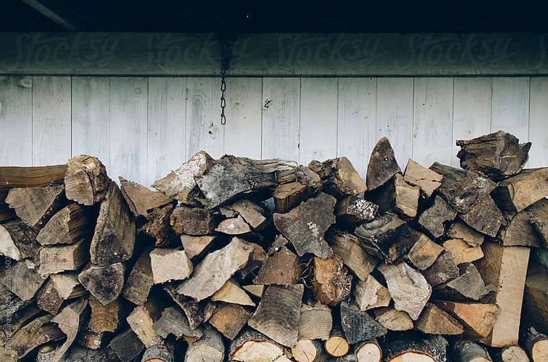 Stack of firewood logs against wooden wall by Trent Lanz for Stocksy United