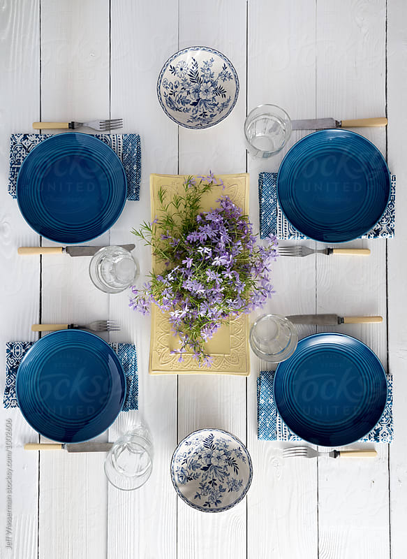 Spring Table Setting on White Table  by Studio Six for Stocksy United