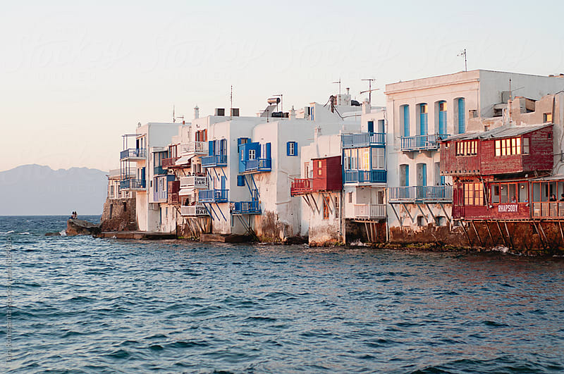 sunset viewing of Little Venice of Mykonos, Greece by Tara Romasanta for Stocksy United