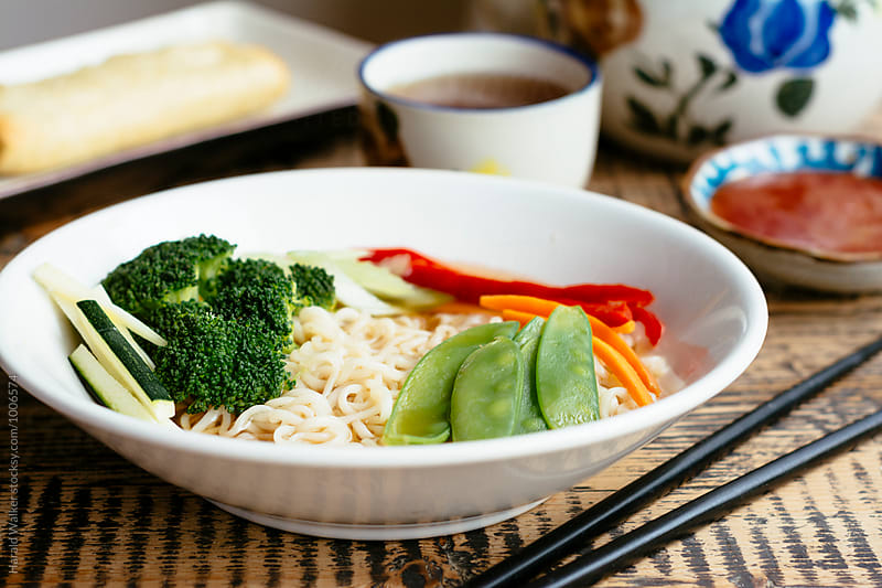 Asian Noodle Bowl with Vegetables by Harald Walker for Stocksy United