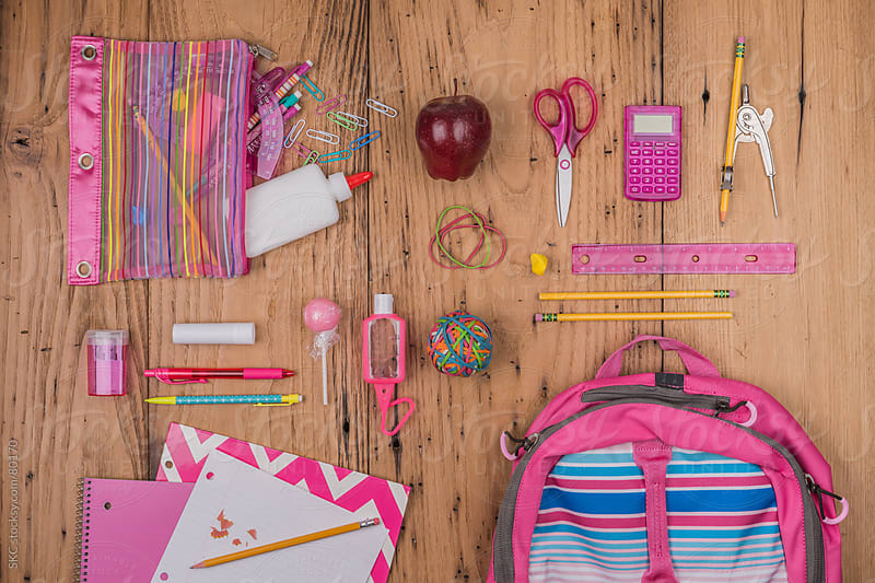 Back to School Supplies for a Girl by suzanne clements for Stocksy United