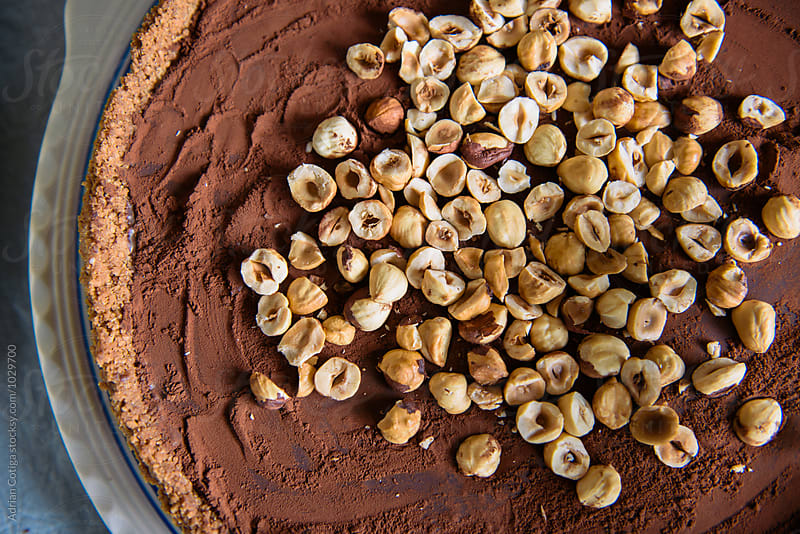 Hazelnuts and cocoa tart, top view by Adrian Cotiga for Stocksy United