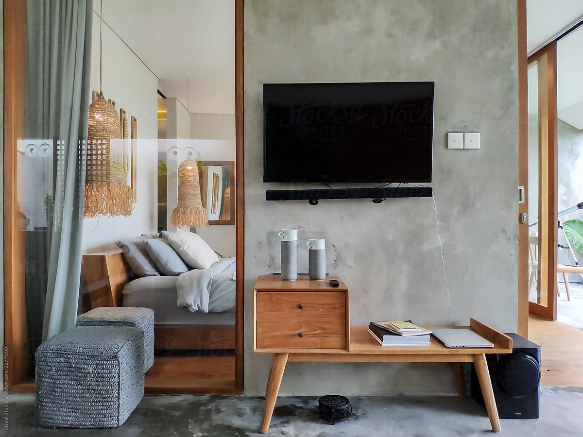 Modern open kitchen in luxury villa bali
