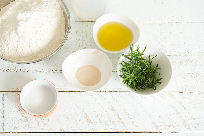 Baking ingredients on wooden table  by Lawren Lu for Stocksy United