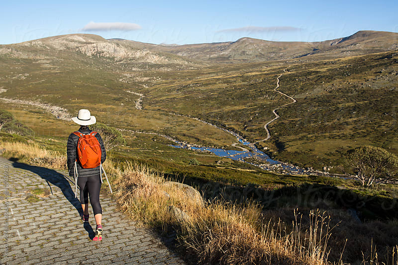 A hiker walking down a path by Reece McMillan for Stocksy United