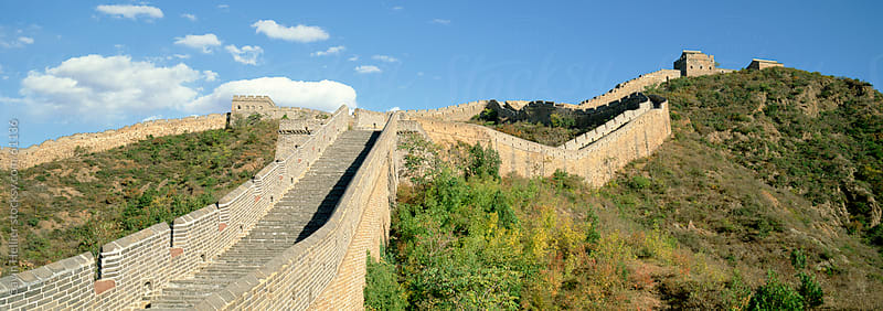 Elevated panoramic view of the Jinshanling section of the Great Wall of China, UNESCO World Heritage by Gavin Hellier for Stocksy United