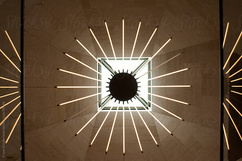 Symmetrical neon light by Freek Zonderland for Stocksy United