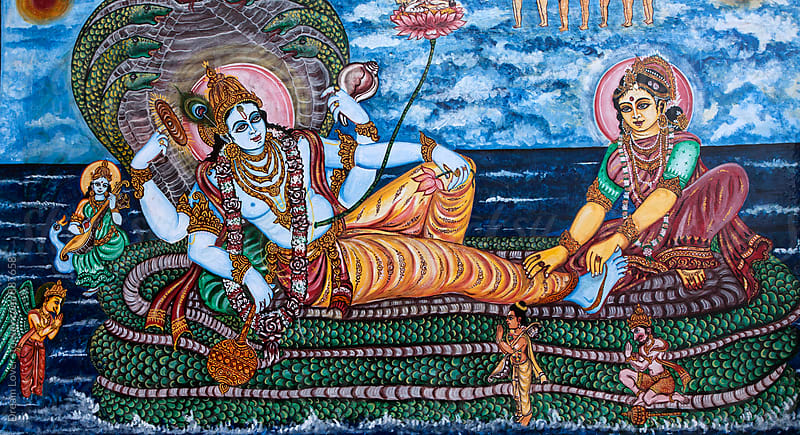 Wall painting of Hindu God Shiva & Goddess Parvati by PARTHA PAL for Stocksy United