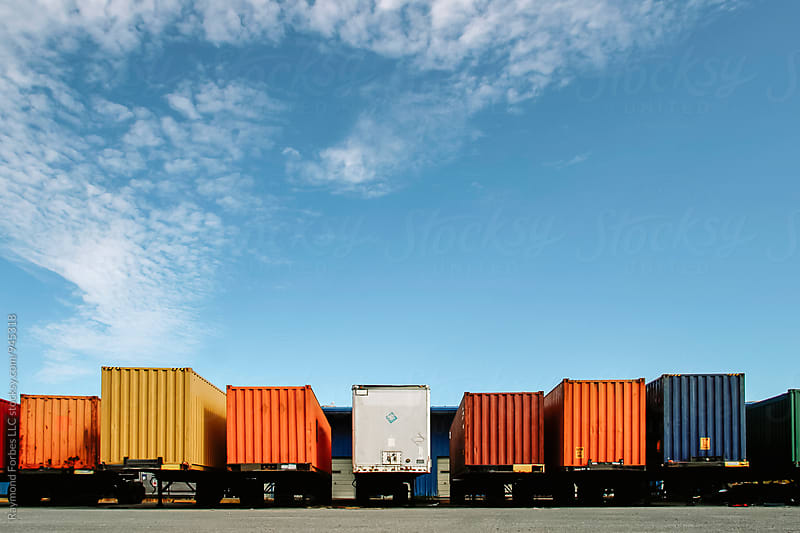 Shipping Containers at Loading Dock by Raymond Forbes LLC for Stocksy United
