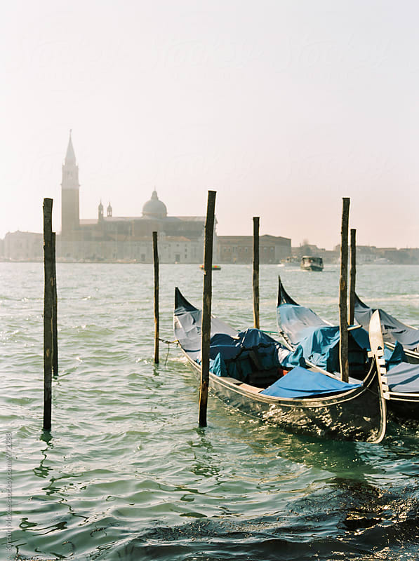 View of gondolas in Venice, Italy by Kirstin Mckee for Stocksy United