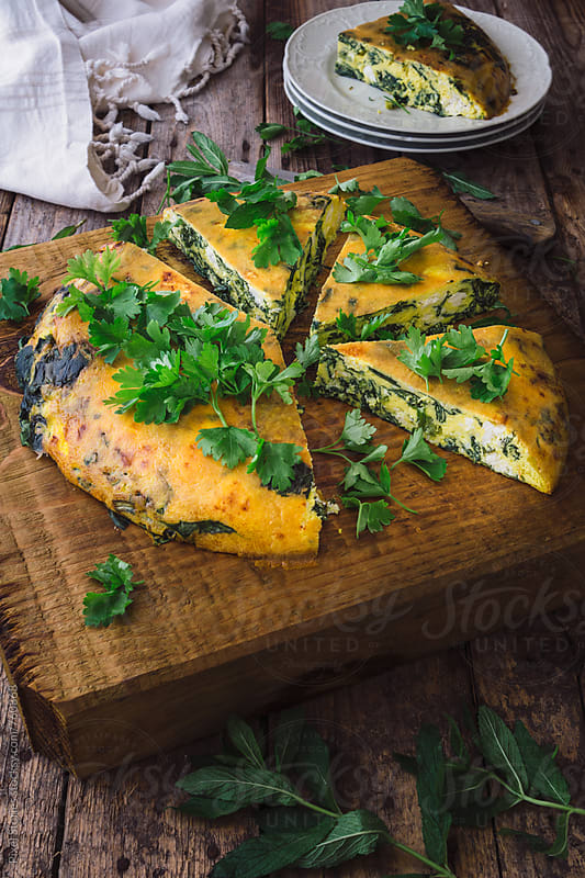 Spinach and feta frittata by Pixel Stories for Stocksy United
