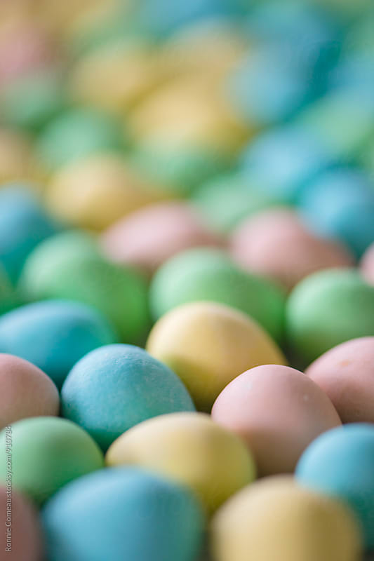 Pastel Easter Eggs Closeup by Ronnie Comeau for Stocksy United