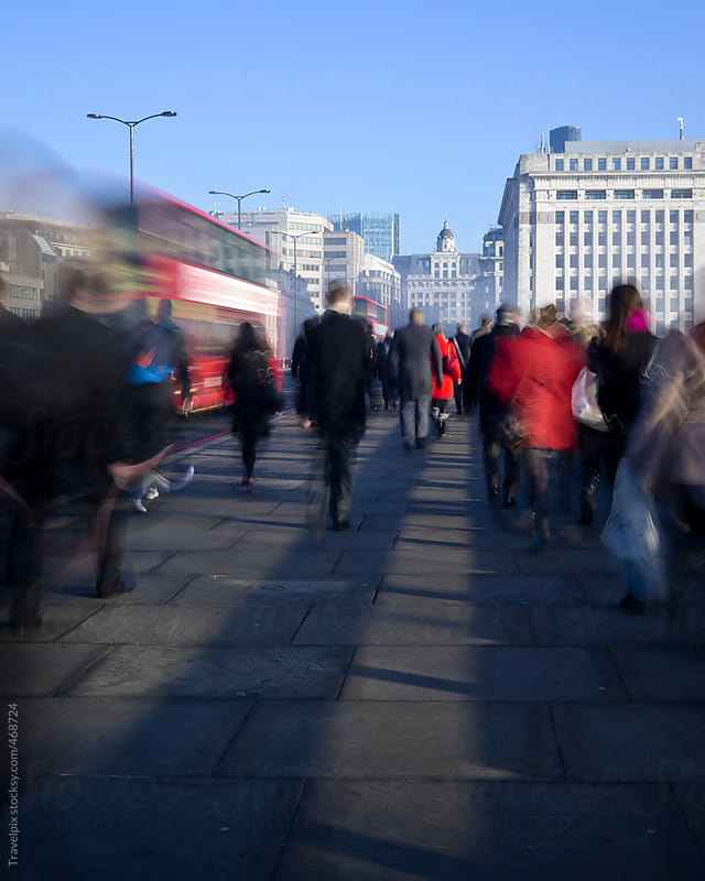Morning Commuters on London Bridge. London. England by Travelpix for Stocksy United