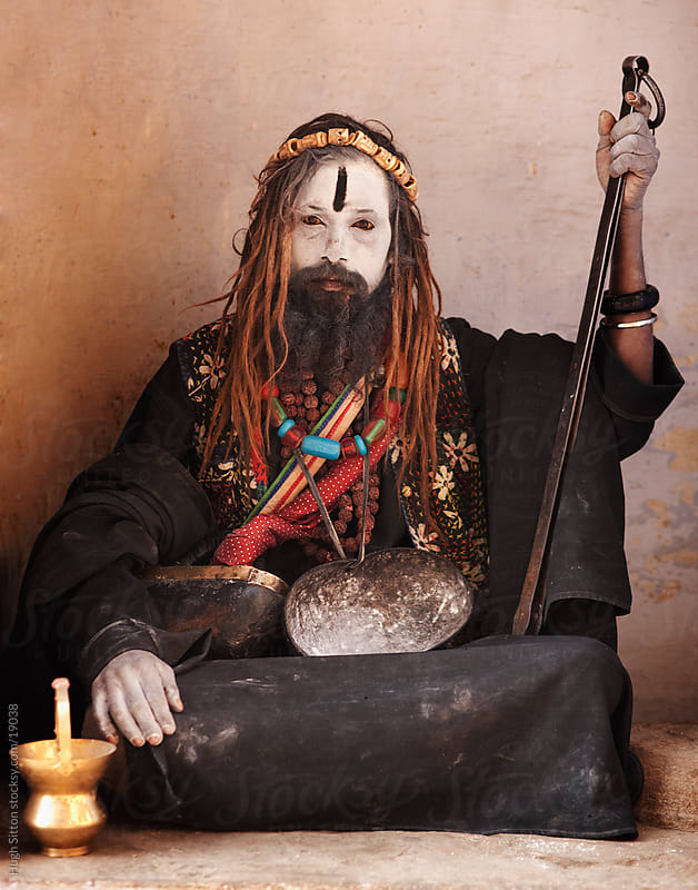 Portrait of sadhu from the Aghora. Varanasi. India by Hugh Sitton for Stocksy United