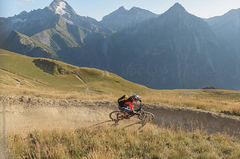 Male biker freeriding mtb downhill backcountry singletrack