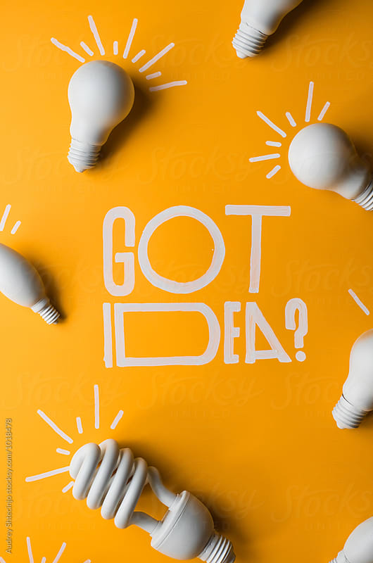 Got idea? text written with light bulbs. by Audrey Shtecinjo for Stocksy United
