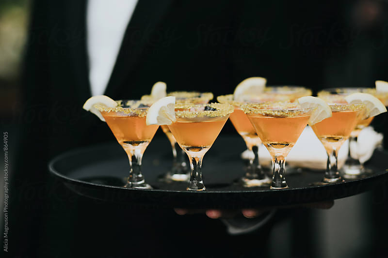 Serving Tray with Cocktail Glasses by Alicia Magnuson Photography for Stocksy United