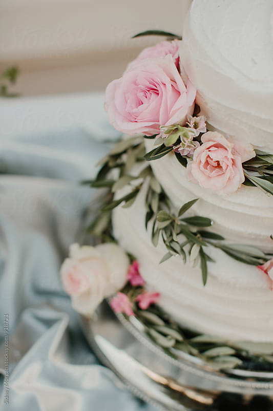 Wedding Cake with Flowers by Sidney Morgan for Stocksy United