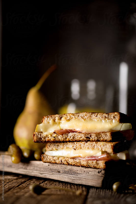 Grilled Cheese with Prosciutto and Pear with Copyspace by Jeff Wasserman for Stocksy United
