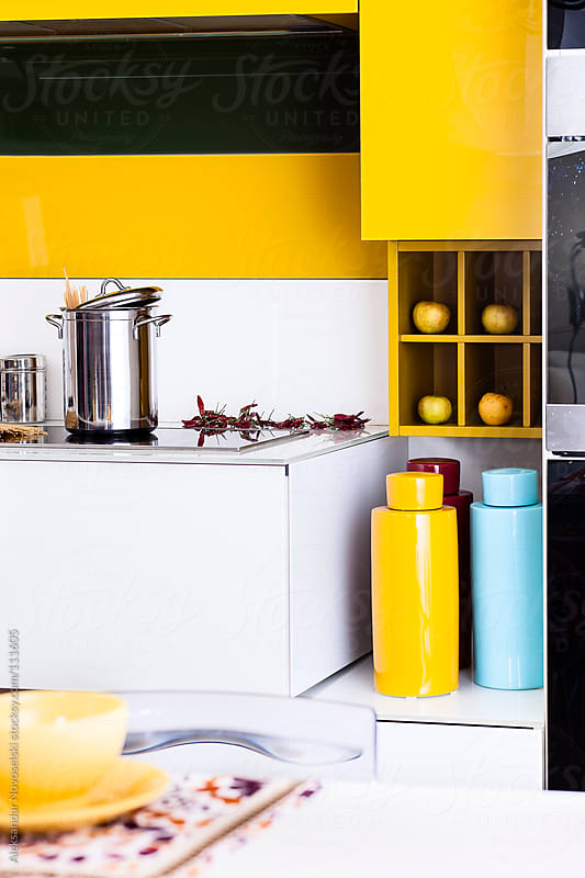 Detail of colorfull kitchen by Aleksandar Novoselski for Stocksy United