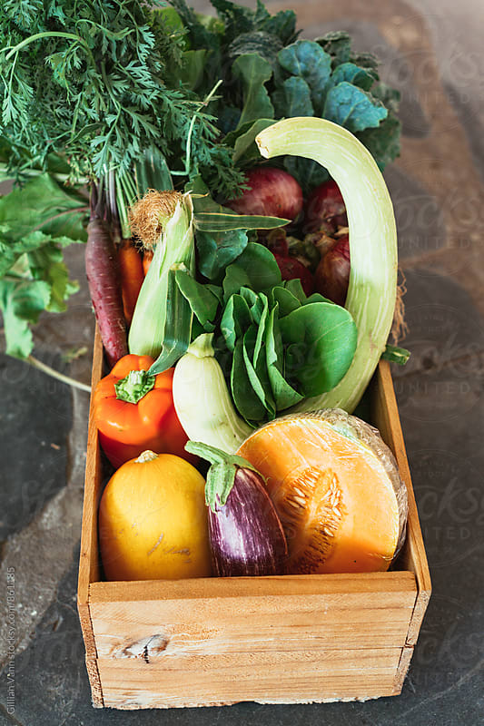 fresh produce box with fruits and vegetables by Gillian Vann for Stocksy United